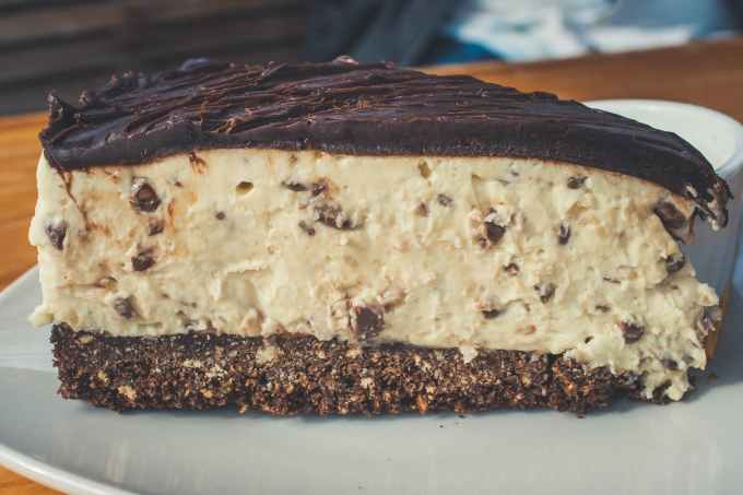 closeup photography of sliced chocolate cake on grey ceramic plate