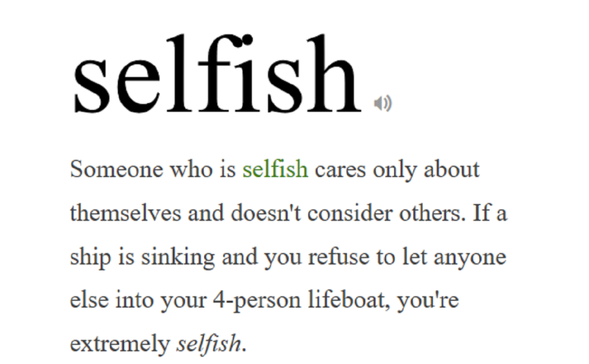 Why is it wrong to be selfish?!